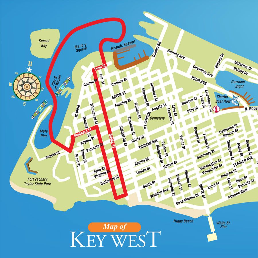 Key West Ducks Route Map – Key West Tourist Attractions Map